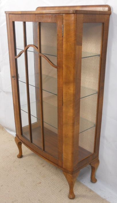 Walnut, Narrow China Display Cabinet In The Antique Queen Anne Style   SOLD  ...